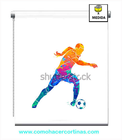 estores juveniles dibujo futbol