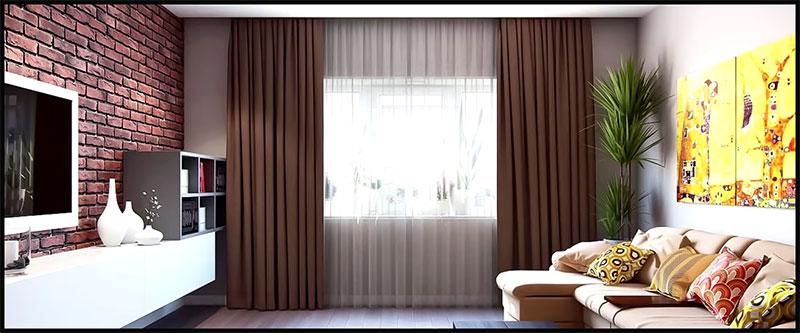 cortina y visillo en salon