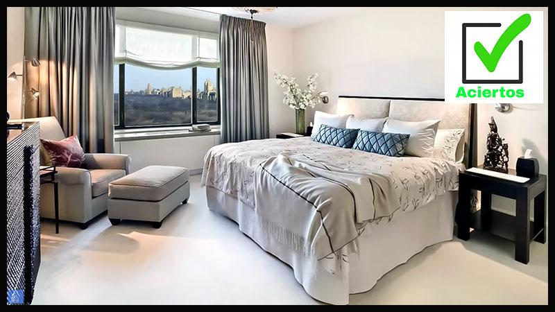 cortinas en gris con estores en habitacion